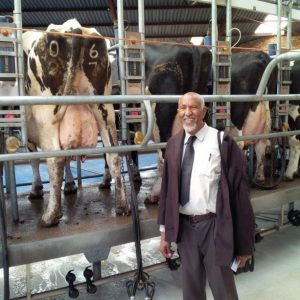 Clients visiting a dairy farm