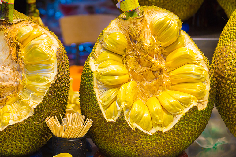 Big cut up jackfruit showing inside part, at local market in China